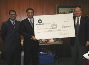Pictured from left to right, Fawad Saif, senior manager of Habib American Bank; Saleem Iqbal, chief operating officer of Habib American Bank; and Nick Hoogmoed, foundation board president