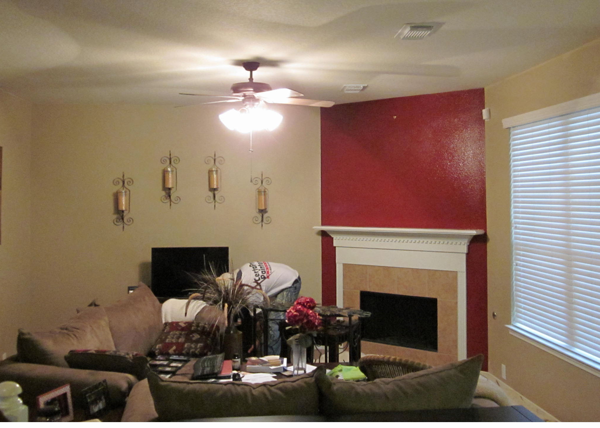 Living Room With Red Accent Wall Pearland