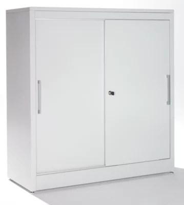 mauser armoire a portes coulissantes armoire basse 2 tablettes h x l x p 1025 x 1200 x 420 mm gris clair bleu outremer