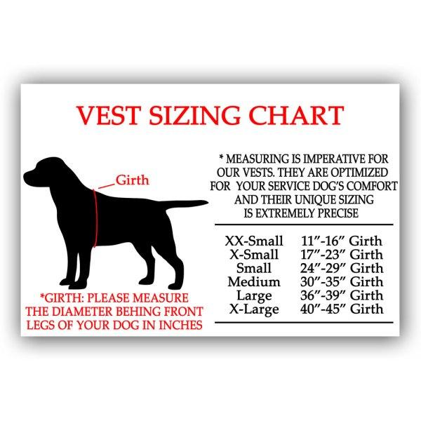 vest sizing chart