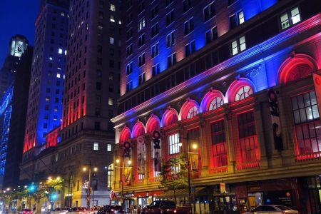 La ciudad de Filadelfia de noche, Estados Unidos