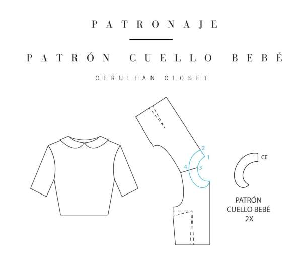 Patronaje: patrón cuello bebé