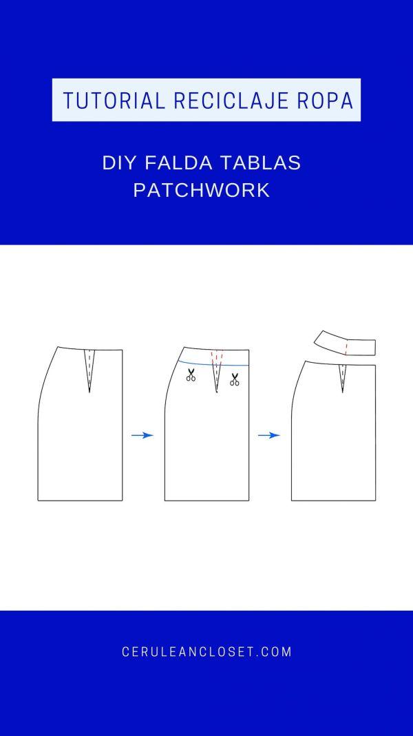 Tutorial reciclaje ropa: DIY falda tablas patchwork, transformación del patrón