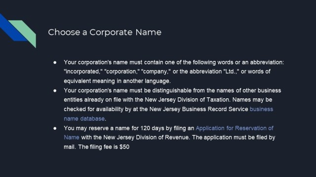 Forming a Corp. in New Jersey 2