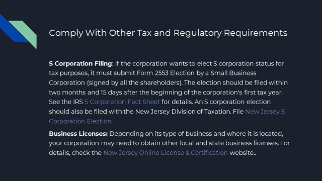 Forming a Corporation in New Jersey 10