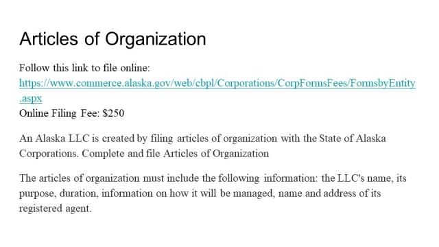 Forming an LLC in Alaska 3