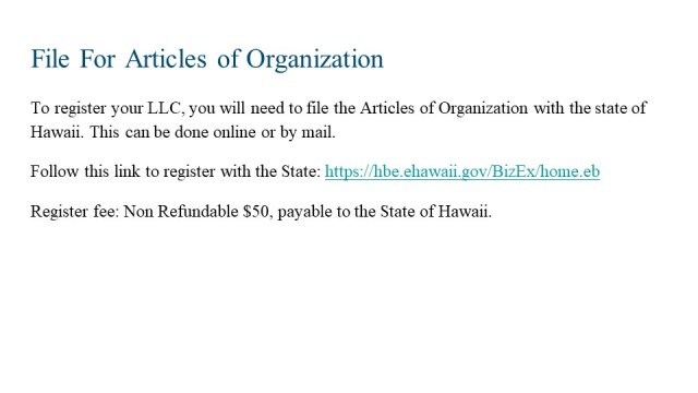 How to Form an LLC in Hawaii 4