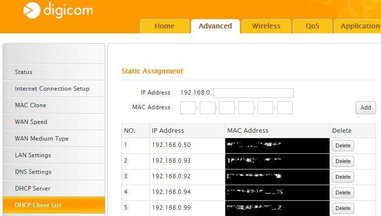 Router Digicom DHCP