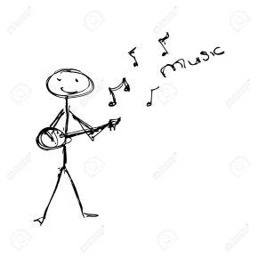 Doodle of a matchstick man playing a guitar