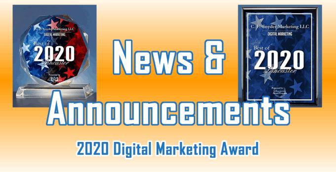 2020 Digital Marketing Award - New & Announcements from C. E. Snyder Marketing LLC