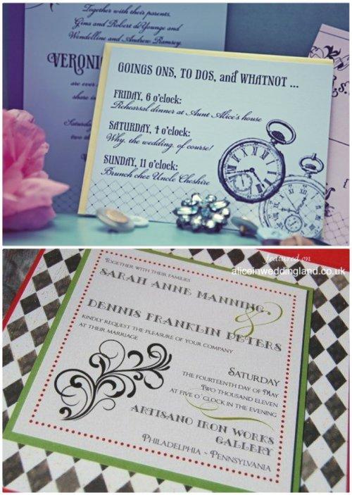 faire-parts mariage thème Alice