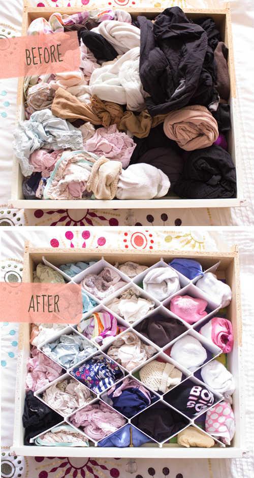 Astuces pour ranger ses tiroirs de lingerie avant après