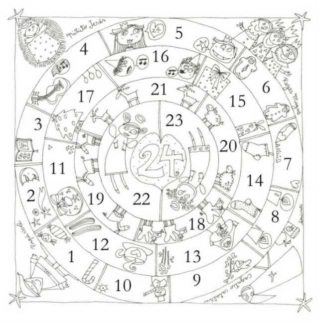 Coloriage Noël à imprimer gratuitement : calendrier de l'Avent