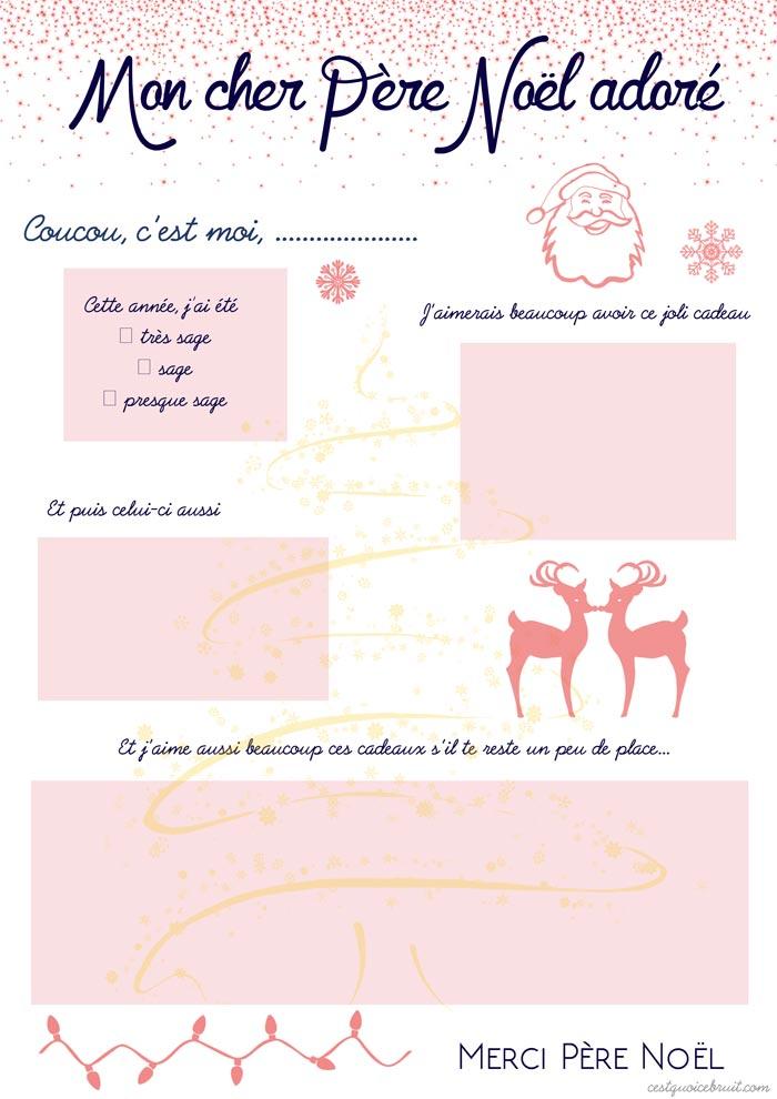 La liste au Père Noël à imprimer gratuitement