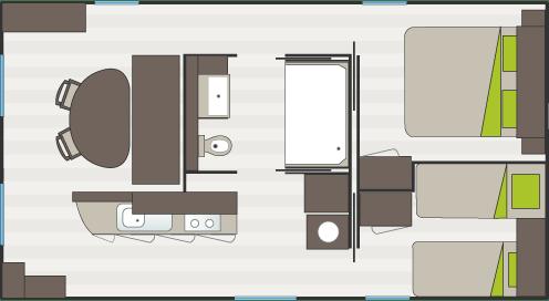 Plan du cottage VIP du camping Holiday Green