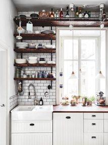 Décoration de cuisine scandinave et decor boho avec évier à poser blanc #boho #cuisine #kitchen #decoration