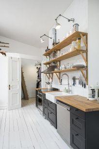 Décoration de cuisine scandinave avec évier à poser blanc #decoration #deco #chambre #kitchen #boho #decor