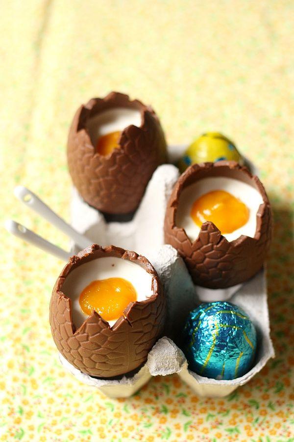 Recettes amusante de Pâques : Pana cotta mangue comme des œufs en chocolat #chocolat #panacotta #recette #paques #recipe #easter