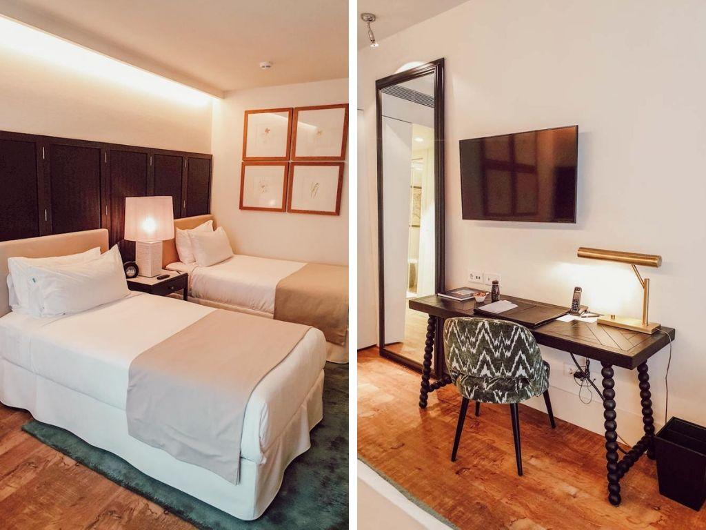 Hotel Camiral, chambre lit jumeaux, blogtrip en famille à Girona