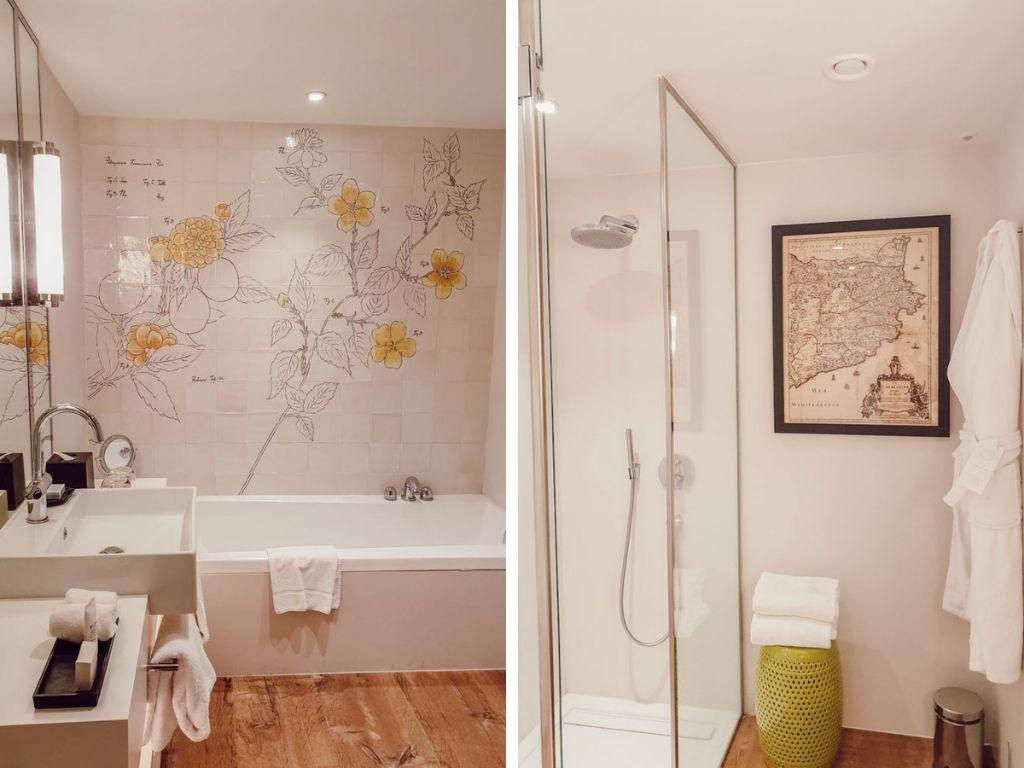 Hotel Camiral, salle de bain avec baignoire et douche, blogtrip en famille à Girona