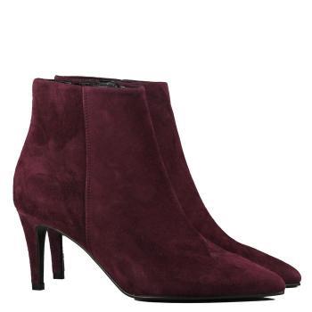 Boots pointues en velours bordeaux pour l'automne
