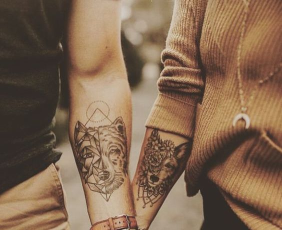 Tatoo couple loup louve