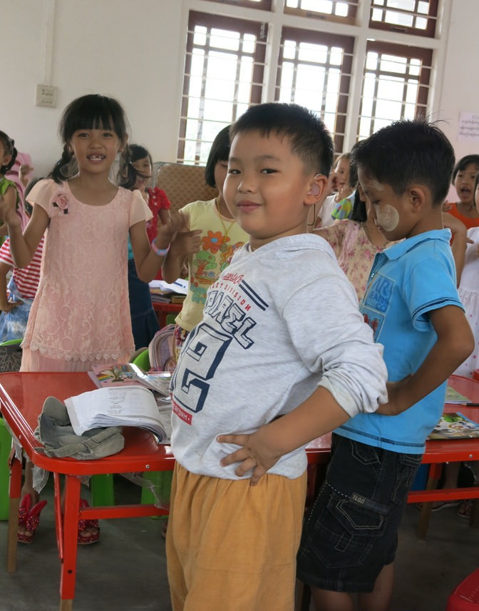 Sai Phate Phyo Sawe didn't speak and he was 6 years old before his parents, on a trip to Singapore, learned he was deaf. He now takes English classes at a Cetana learning center and is learning to speak Shan and English at the same time.  His enthusiasm is contagious.