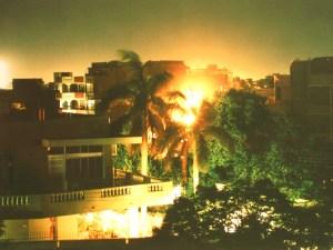 Bei Nacht auf unserem Balkon