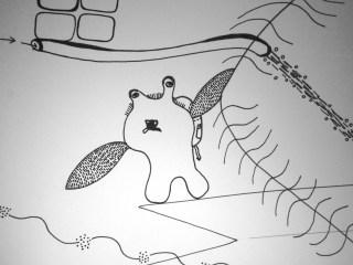 """Zeichnung """"Flugwesen"""" (Detail )"""