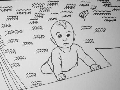 """Zeichnung """"Baby"""" (Detail)"""