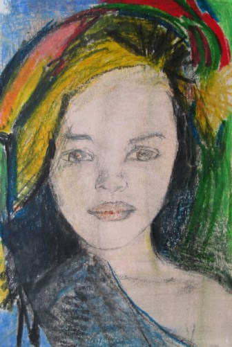 """Zeichung """"Tropical Portrait I"""" 10 x 15 cm"""