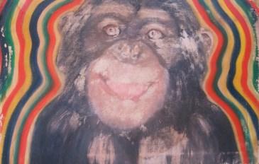 Portrait eines Hipster-Äffchens, Öl auf Leinwand, 45 x 30 cm