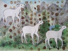 """Studie in den Bergen: """"Drei Weiße Hirsche"""" mit Aquarell und Zitronensaft auf Papier"""