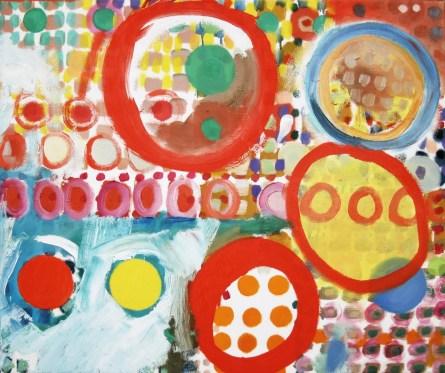 Mit drei roten Kreisen. Farbsystem mit Öl auf Leinwand, 60 x 50 cm