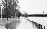 Überflutete Promenade am Rhein, Hochwasser