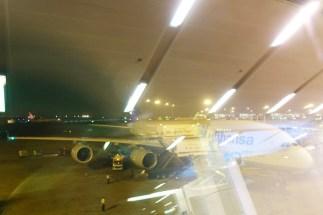Unser Airbus 380 am Gate in Delhi