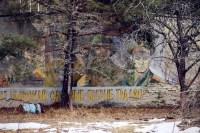 Verwitterte Wandbilder erinnern an alte sowjetische Zeiten