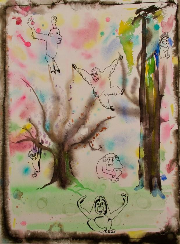 Affen im Wald - Aquarell und Fineliner, 36 x 48 cm