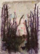 Nachts im Wald - Aquarell und Tusche