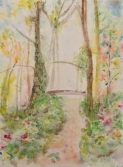 Impressionistisch anmutender Frühling im Wald - Aquarell