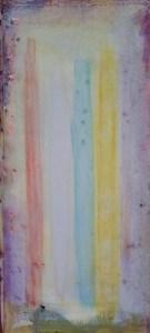 Fundstück mit vertikalen Farben - Öl auf Holz, 64,5 x 30 cm