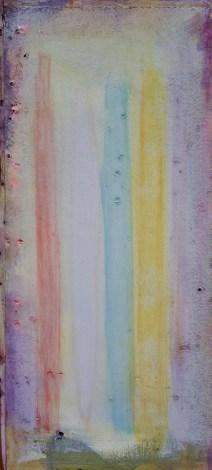 Fundstück mit vertikalen Farben - Öl auf Holz, 30 x 64,5 cm
