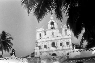 Kirche Unserer Lieben Frau von der Unbefleckten Empfängnis in Panjim, Goa - mit Palmenzweig