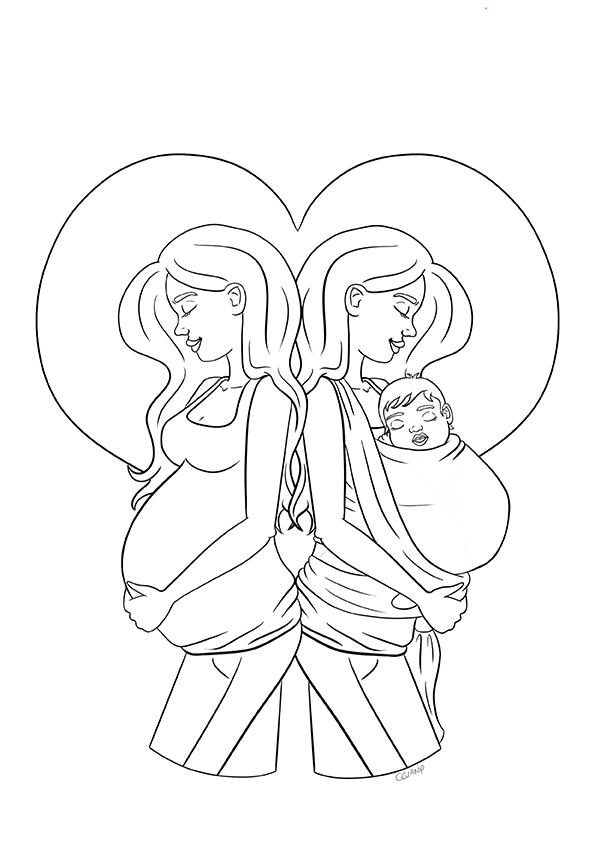 Coloriage sur le lien entre la grossesse et portage physiologique, issu du carnet de coloriages Coeur à Coeur, coloriages autour de la parentalité par Cévany