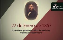 En 1857 el Presidente Ignacio Comonfort decreta la Ley Orgánica del RegistroCivil