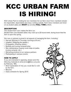 kcc urban farm hiriing 2015