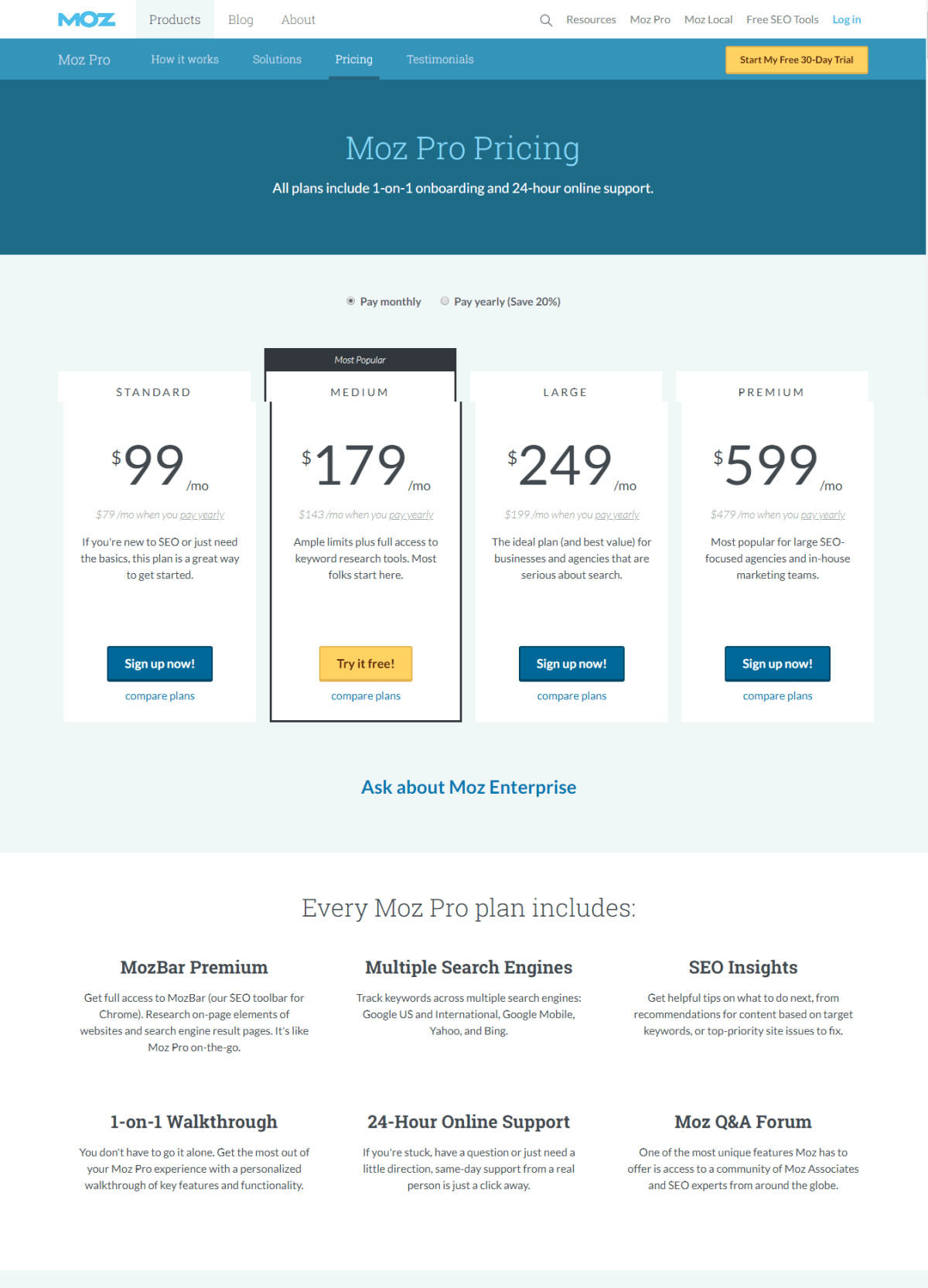 Moz Plans and Pricing