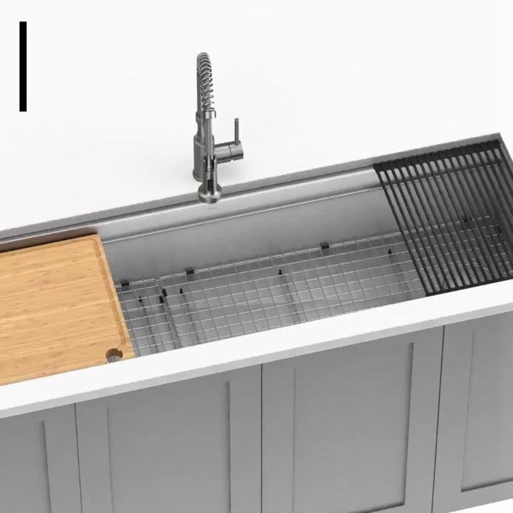 https www homedepot com p kraus kore workstation farmhouse apron front stainless steel 36 in single bowl kitchen sink with accessories kwf410 36 310390447