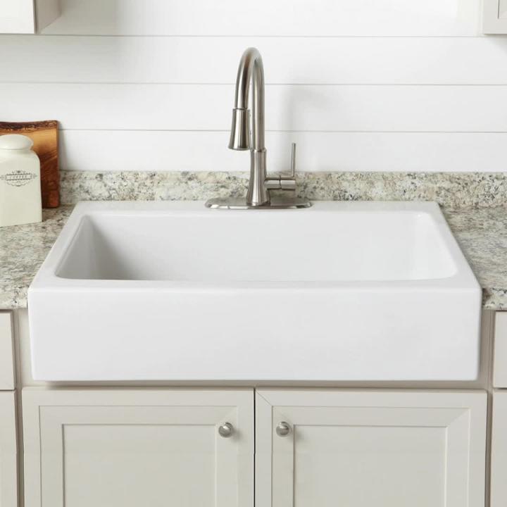 josephine 34 in fireclay 3 hole single bowl drop in farmhouse kitchen sink in crisp white