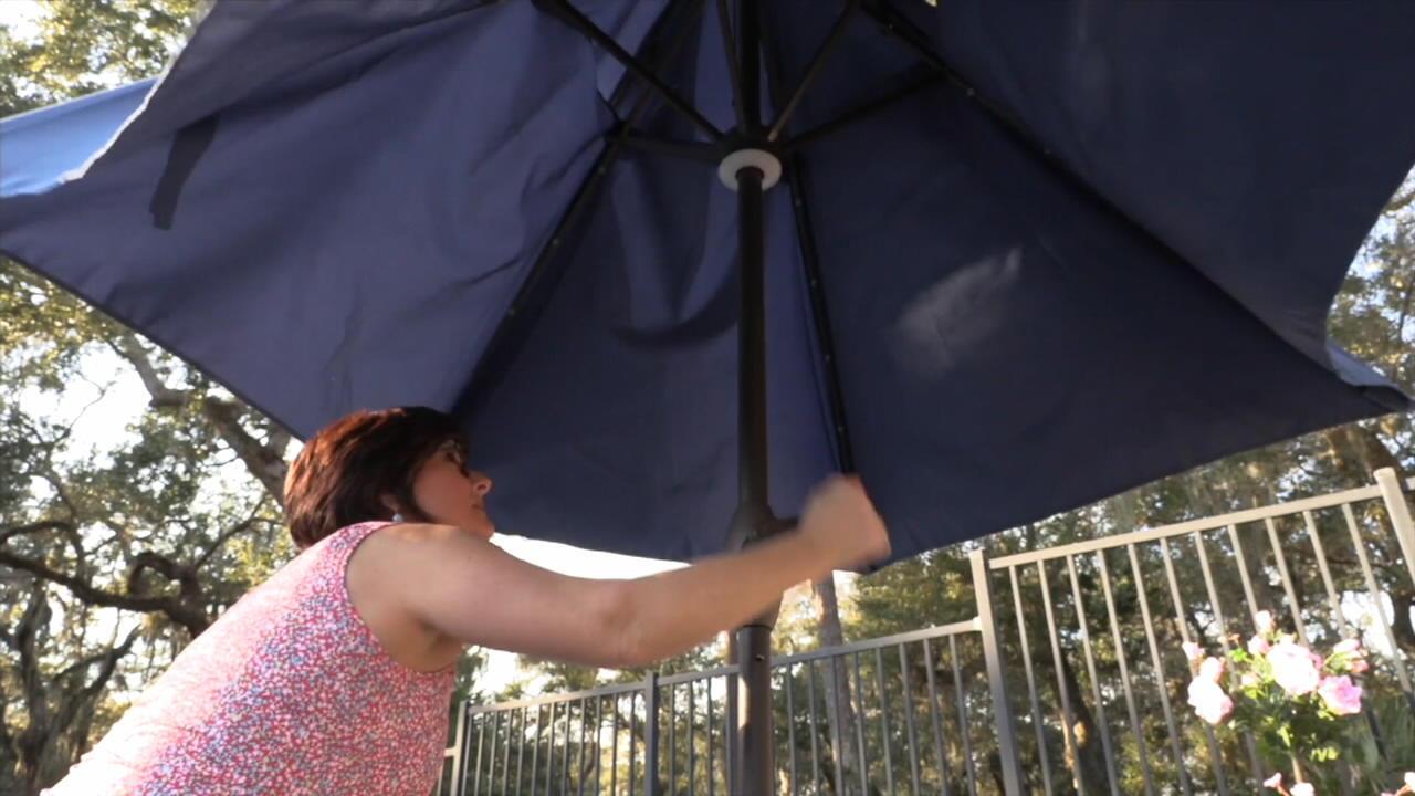 atleisure 9 solar double top patio umbrella with cover qvc com